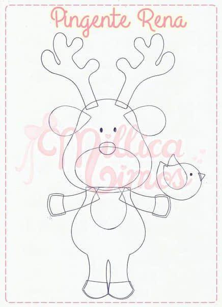Rodolfo el reno en fieltro con moldes para imprimir02