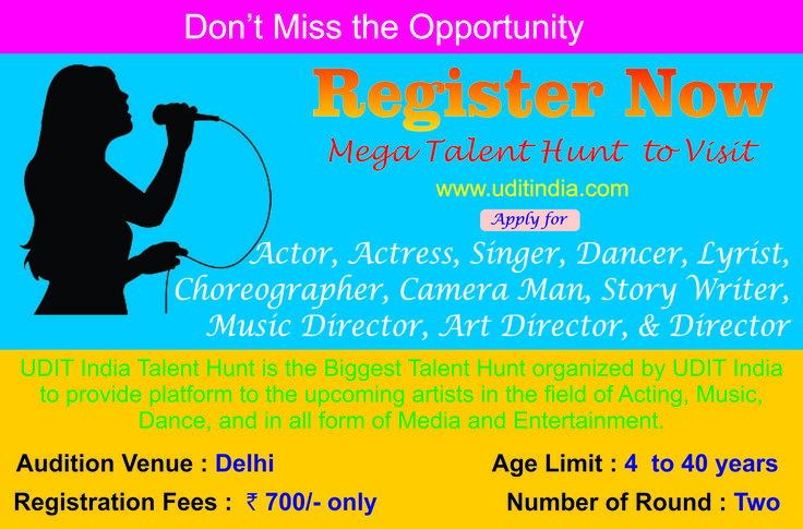 Udit India Talent Hunt is the Biggest Talent Hunt organized by Udit India to provide platform to the upcoming artists in the field of Acting, Music, Dance, and in all form of Media and Entertainment. The Winners will be launched  in the upcoming projects by Udit India with 3 years contract and Cash Rewards.