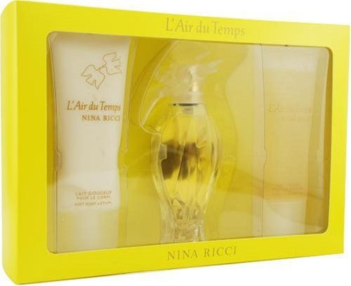 L'air Du Temps By Nina Ricci For Women. Set-edt Spray 3.3 Ounces & Body Lotion 3.3 Ounces & Shower Gel 3.4 Ounces by Nina Ricci. $42.35. Packaging for this product may vary from that shown in the image above. This item is not for sale in Catalina Island. Launched by the design house of Nina Ricci in 1948, L'AIR DU TEMPS is a Women's fragrance that possesses a blend of a rich floral of gardenia and jasmine, with tones of sandalwood and iris, a romantic aroma.  It is recommended ...