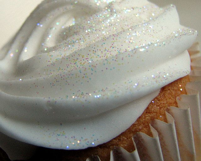 Edible glitter!  1/4 cup sugar, 1/2 teaspoon of food coloring, baking sheet and 10 mins in oven at 350