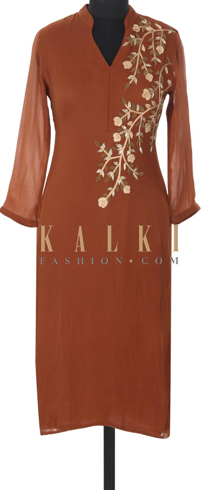 Buy this Brown kurti adorn in zardosi and french knot embroidery only on Kalki