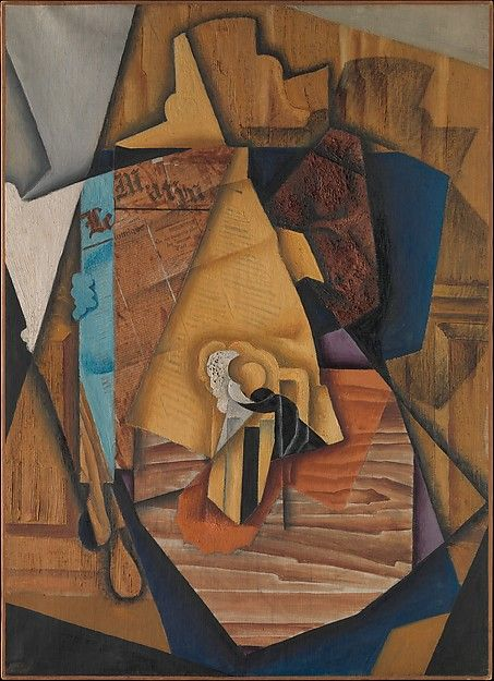 """Juan Gris (Spanish, 1887–1927): The Man at the Café, 1914.The Metropolitan Museum of Art, New York (promised gift from the Leonard A. Lauder Cubist Collection.   This work is on view in """"Cubism: The Leonard A. Lauder Collection"""" through February 16, 2015. #Cubism"""