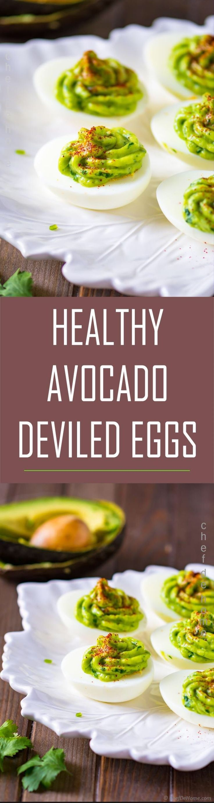 Healthy Deviled Eggs with Avocado Recipe is Quick and healthy Deviled Eggs! These deviled eggs are packed with egg-protein, topped with homemade spicy and green good-fat avocado sauce! They are also mayo free and far more quicker to put together! Paleo, gluten free, and ketogenic diet friendly!Honestly, eggs and avocado are made for each other.