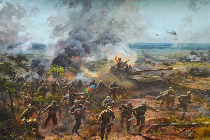 Battle of Cuito Cuanavale, Angolan Civil War. Swapo troops aiding the MPLA leading a charge.