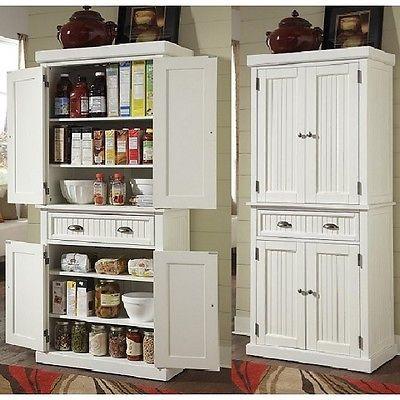 Tall Kitchen Pantry Storage Cabinet Utility Closet Distressed