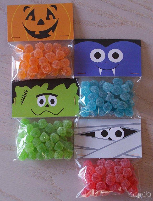 Free halloween printable: decoration candy bags. Plantilla gratis para decorar bolsas de caramelos para halloween. http://www.laguindadetalles.com/2014/10/decoracion-para-halloween.html