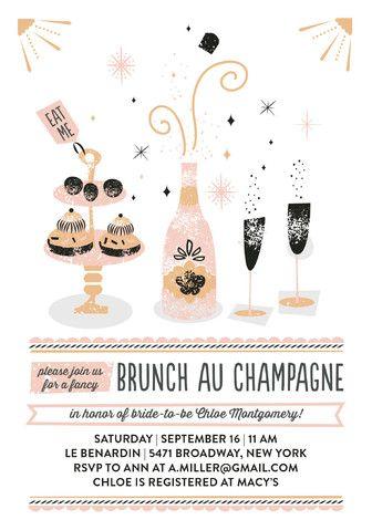 """Brunch Au Champagne"" - Whimsical & Funny, Hand Drawn Bridal Shower…"