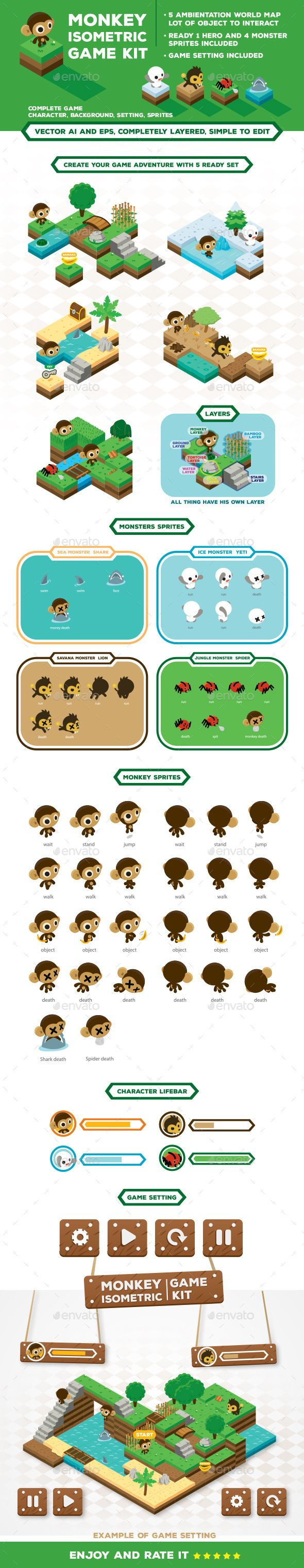 Monkey Isometric Game Kit Map Creator (Vector EPS, AI Illustrator, CS, 4 directional, android, arcade, assets, background, buttons, character, interface, ipad, iphone, isometric, isometric game, jungle game, kit, labyrinth, logo, map, mobile, monster, objects, obstacles, play, rpg, sea, set, side scrolling, sprites, sprites sheet, vector)