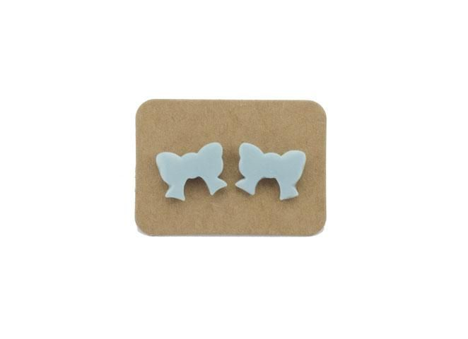 Ceramic Pastel Blue Bow Earrings from Lululoft $15