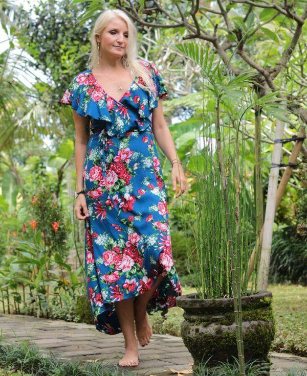 Damen Maxikleid Sommerkleid Geblümt Freizeitkleid Trägerkleid Boho Lange Kleider