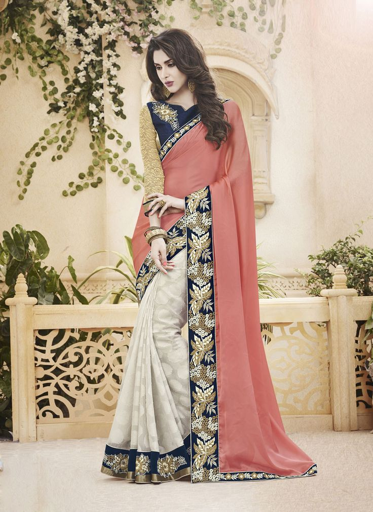 Peach Satin Chiffon Half and Half Saree With Blouse 61857