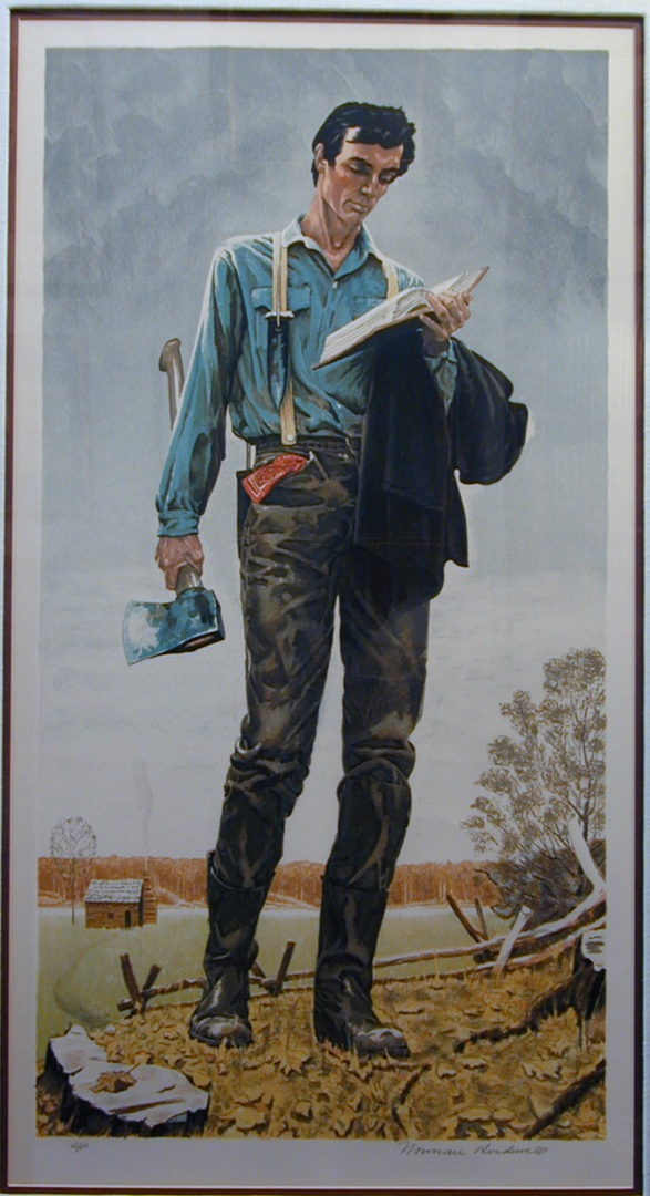 """""""Young Lincoln."""" Color Lithograph, signed """"Norman Rockwell ..."""