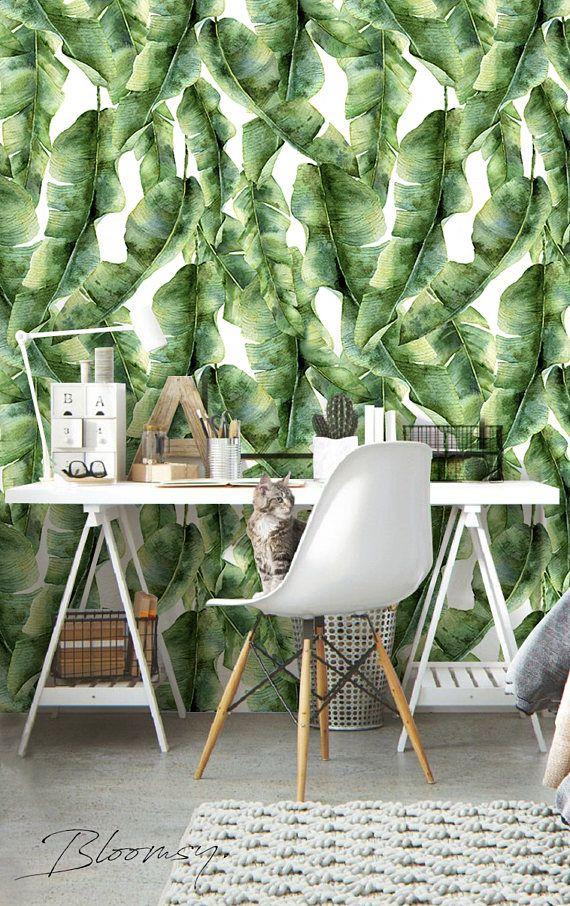 Verwisselbare Wallpaper Palm Bladeren Wallpaper Self Adhesive Etsy Palm Leaf Wallpaper Leaf Wallpaper Palm Wallpaper