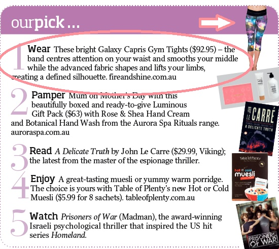Our loud Galaxy capri gym tights featuring in this week's Brisbane News