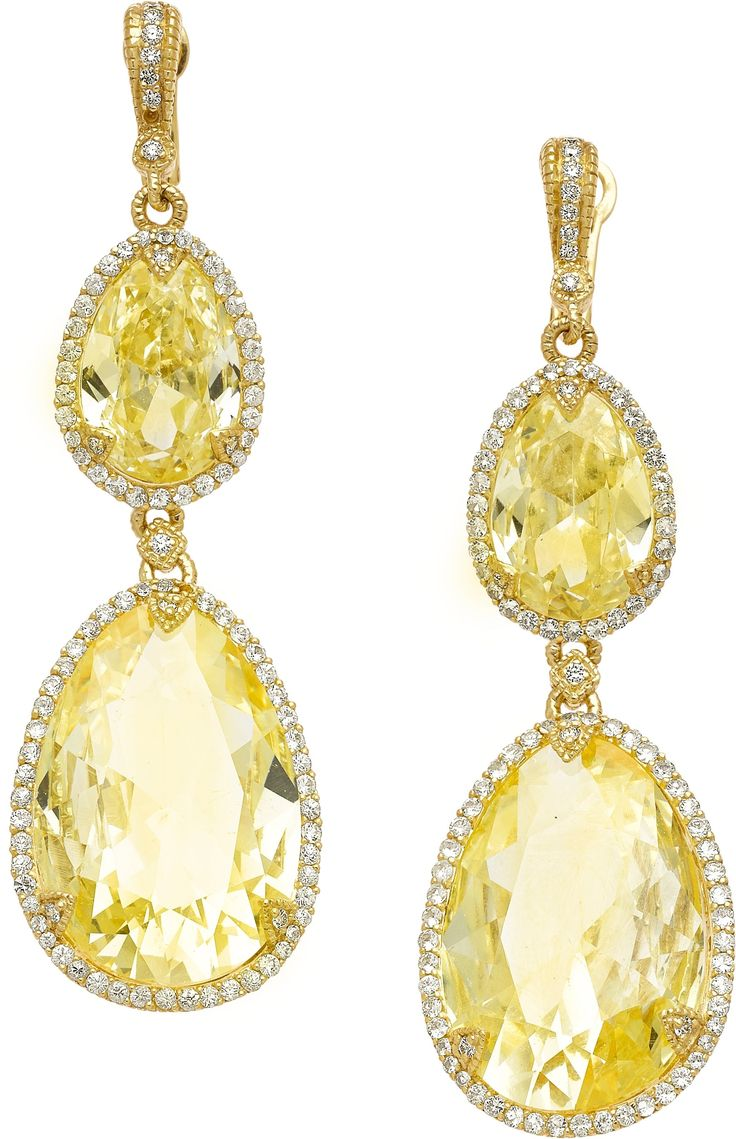 Citrine, Diamond and Gold Earrings by Judith Ripka