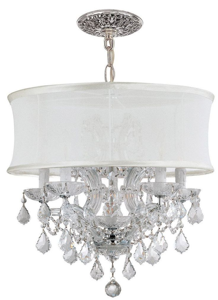 Crystorama Polished Chrome Maria Theresa Chandelier Draped in Clear Hand Cut Crystal and accented with a Smooth Antique White Silk Shade. 5 Lights - Polished Chrome - 4415-CH-SMW-CLM