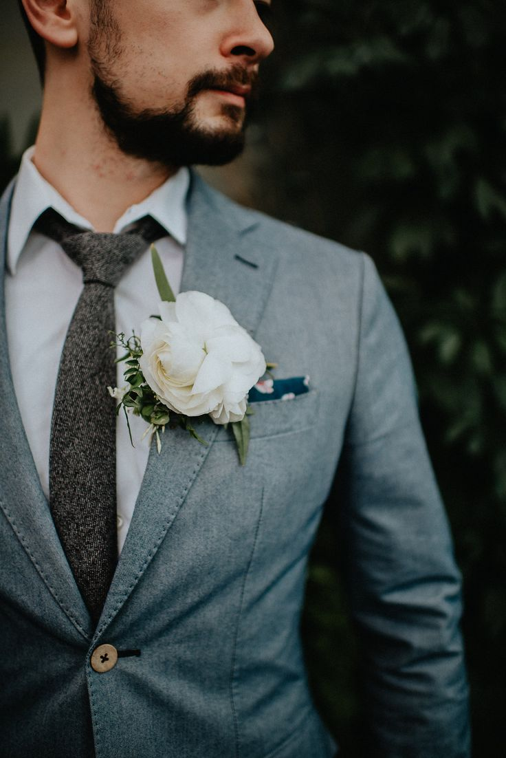 large floral boutonnieres - photo by Pat Robinson Photography http://ruffledblog.com/artistic-botanical-wedding-inspiration