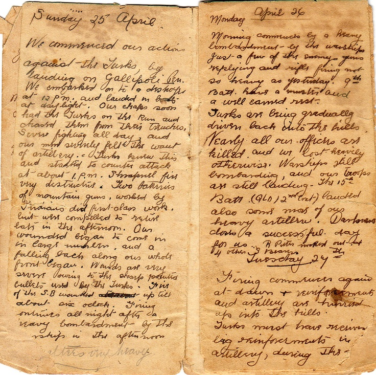 WW1 Letters/Diaries, tough description of Gallipoli landing with great destruction.