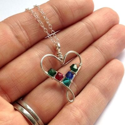 wire heart birthstone pendant 4 crystals - handmade jewellery (9)                                                                                                                                                                                 More
