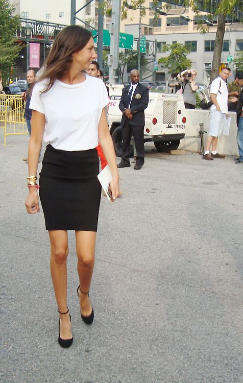 White Tee / Black Pencil Skirt / Ankle-Strap Pumps