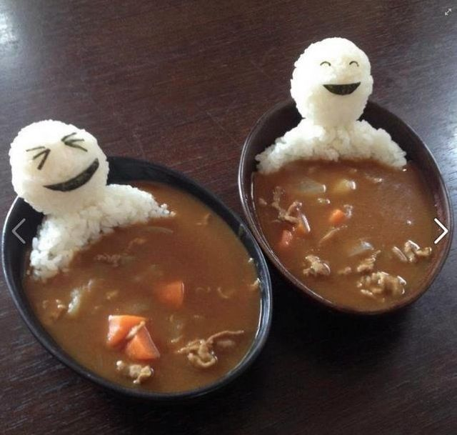Rice people in curry bath tub!