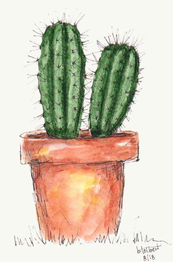 Fass Kaktus Pflanzen Original Aquarell Malerei Aquarell von Hand bemalt, Kaktus Blume Pflanze Stift und Tinte Art Wüste Kunst