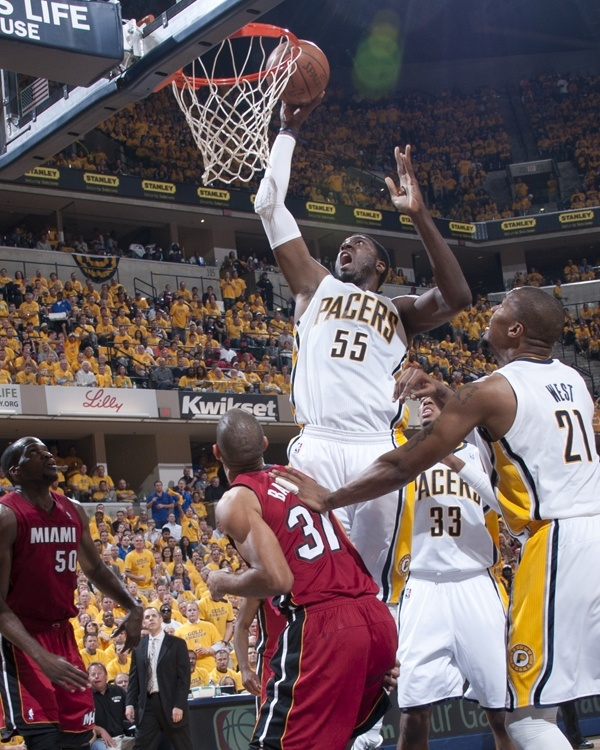 ... Pacers center Roy Hibbert dunks for two of his 19 points during Game 3  of the Clippers Hopeful DeAndre Jordan ... 7e4f61302