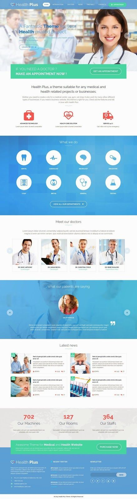 HealthPlus is a premium medical #HTML template designed for #Hospital, Health Center or Private #Doctor.  It can be also used for a #Health Portal with Blog & News content layout. This theme is also available in  PSD.