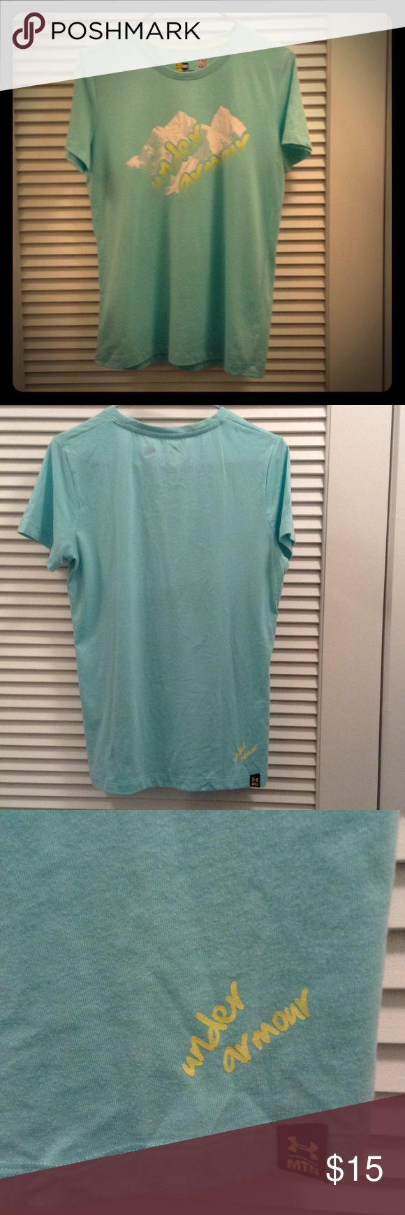 Under Armour Mountain Teal/Mint Shirt Medium This cotton blend t-shirt is comfy and soft Bundle with another top in my closet and save 20% plus receive a free gift. Under Armour Tops Tees - Short Sleeve