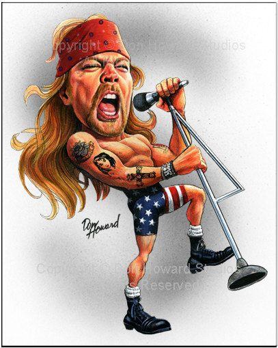 Axl Rose limitada edición celebridades caricatura arte imprimir por Don Howard