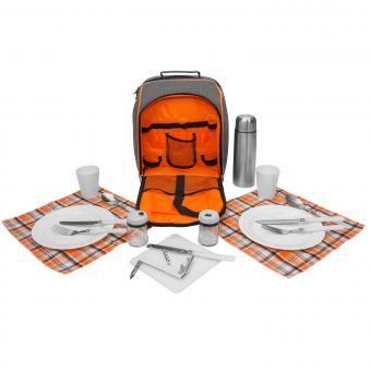Picknick Rucksack Kühltasche Picknicktasche Kühlfach + Geschirr Besteck grau