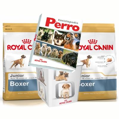 Royal Canin Boxer 30 Junior 12Kg+Bidón+Enciclopedia.    Llévese de regalo este bidón, perfecto para mantener fresca la comida de su perro. En el bidón cabe todo el saco de pienso.    Además, comprando 3 sacos de esta referencia, llévese de regalo la nueva enciclopedia del perro de Royal Canin, que reúne en un volumen de 1005 páginas todo el conocimiento del perro e información actualizada sobre 357 razas.    Al comprar estos 2 sacos se le enviará un cupón para conseguir la enciclopedia en su…