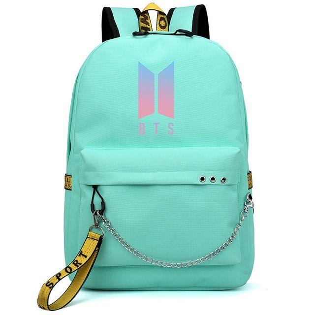 Bangtan Boys BTS Logo Letter Backpack Shoulder Bag School Bookbag Outdoor Travel
