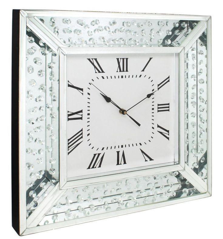 Diamonds Of Mayfair Mirror Wall Clock Floating Crystal Sparkle 50cm X 50cm  | eBay