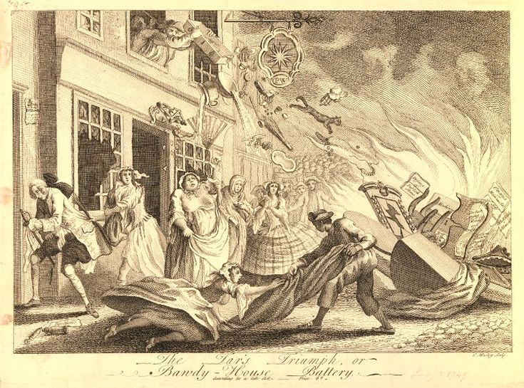 British Museum: 'The Tar's Triumph, or Bawdy-House Battery' Satire on the Penlez riots of July 1749 when a number of brothels in the Strand area were wrecked by sailors; a street scene with prostitutes and their clients escaping from a building; a man is throwing objects from an upper window, including condoms, a birch, boxes of pills and patches and cosmetic aids; in the foreground, a prostitute and a sailor tussle for a bedsheet; to right, a bonfire of the brothel's fashionable furniture…