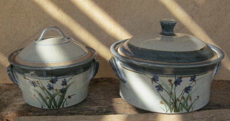 Casseroles - White glaze with cobalt and chrome oxide decoration