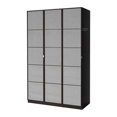 Elegant PAX Kleiderschrank schwarzbraun Fevik Frostglas
