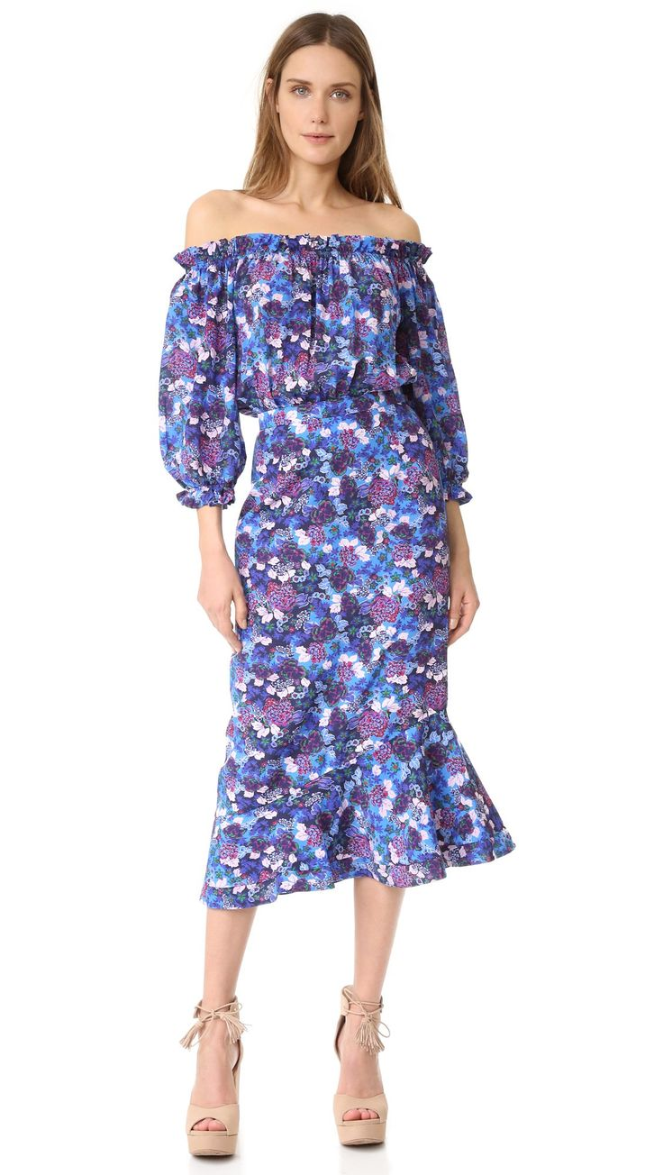 Saloni Women's Grace Dress, Periwinkle, 8. Silk crepe. 100% silk. 100% polyester. Dry clean. Width 45in / 114cm, from center back.