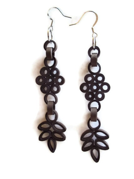 Paper filigree quilled earrings by WastebasketWhatnots on Etsy, $15.00