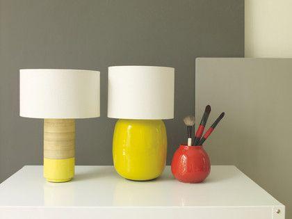 POPP Yellow bamboo table lamp with fabric shade