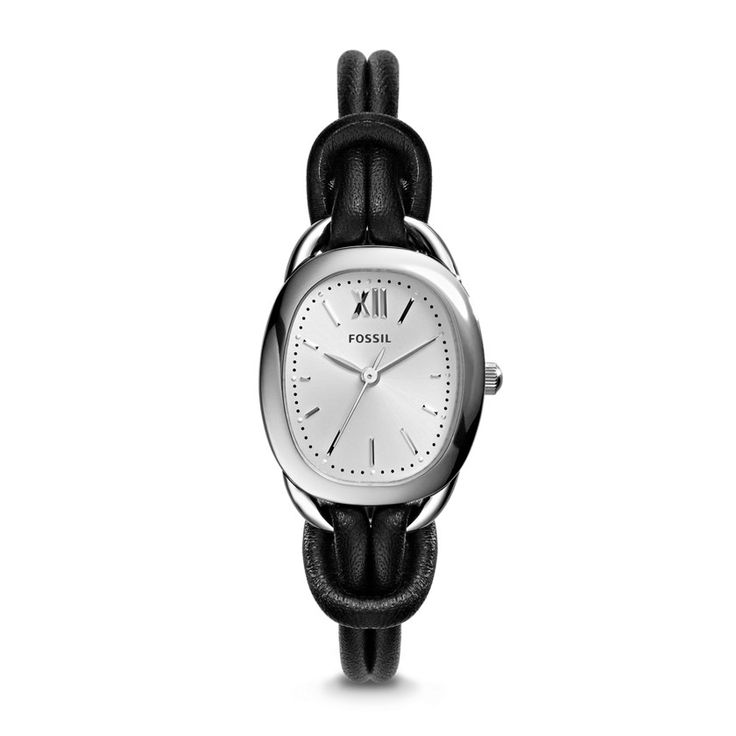 Fossil Sculptor Three-Hand Leather Cord and Stainless Steel Watch - Black