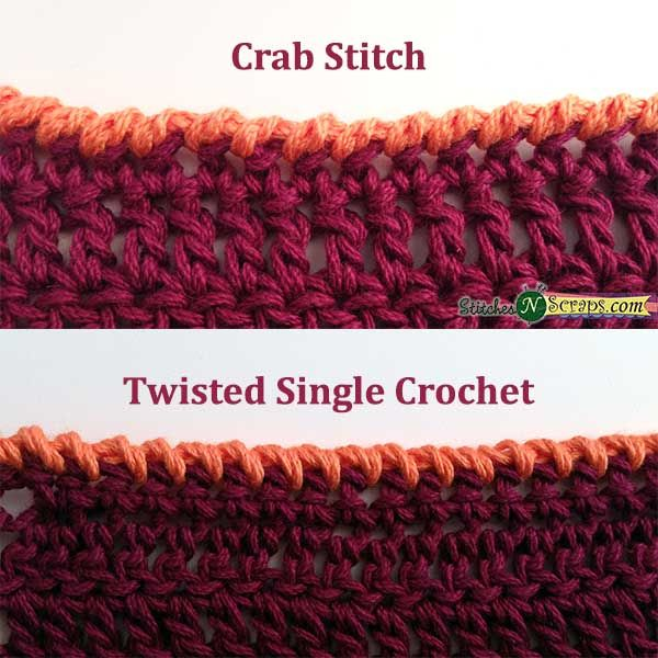 Edging - Crab Stitch & Twisted SC Great tutorial for these crochet edges! #diy