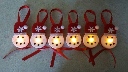 DIY Flameless Snowman tea light ornaments with #CandleImpressions #FlamelessCandles