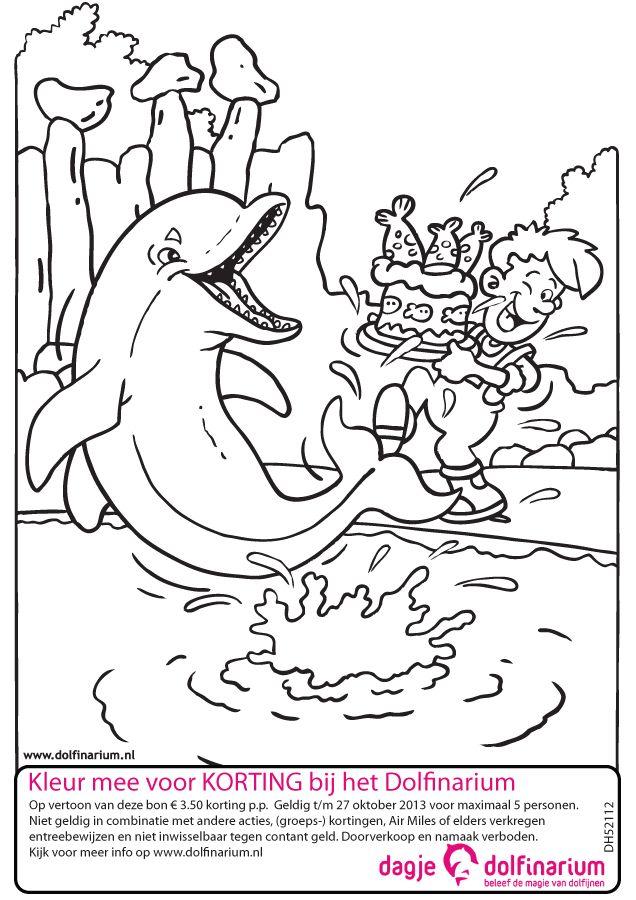 Kleurplaat Dolfijnenverjaardag met vistaart! - Kleurplaten.nl