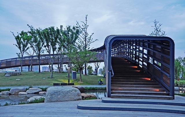 Shanghai EXPO via Flickr. covered pedestrian bridge