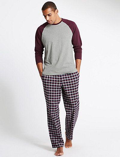 Brushed Cotton Stay Soft Checked Pyjama Set | M&S - £27.50