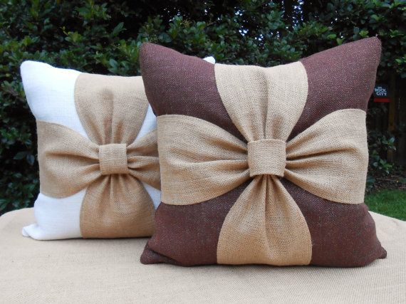 Burlap bow pillow cover in white or brown and natural burlap 18x18