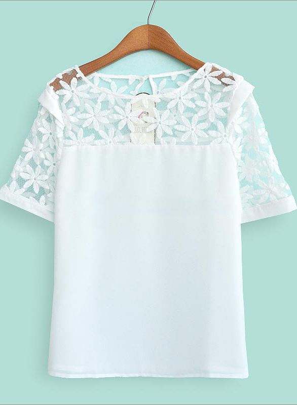 White Short Sleeve Embroidery Lace Sheer Shoulder Blouse - Sheinside.com