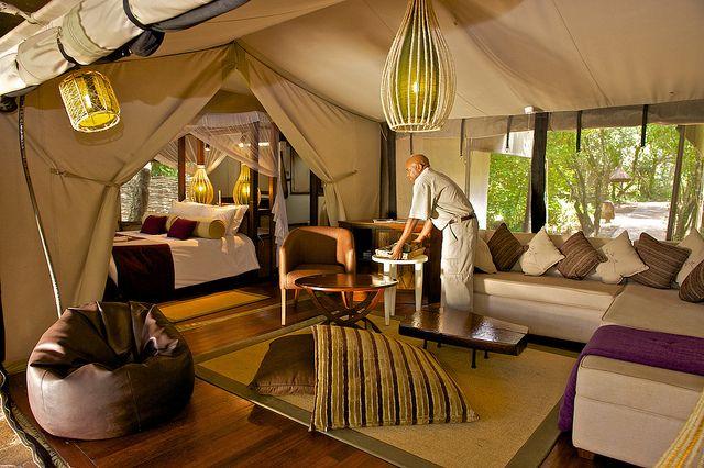 """Living area"", luxury family tents. Masai Mara, Kenya.. http://www.heritage-eastafrica.com/tented-camps/mara-intrepids/"