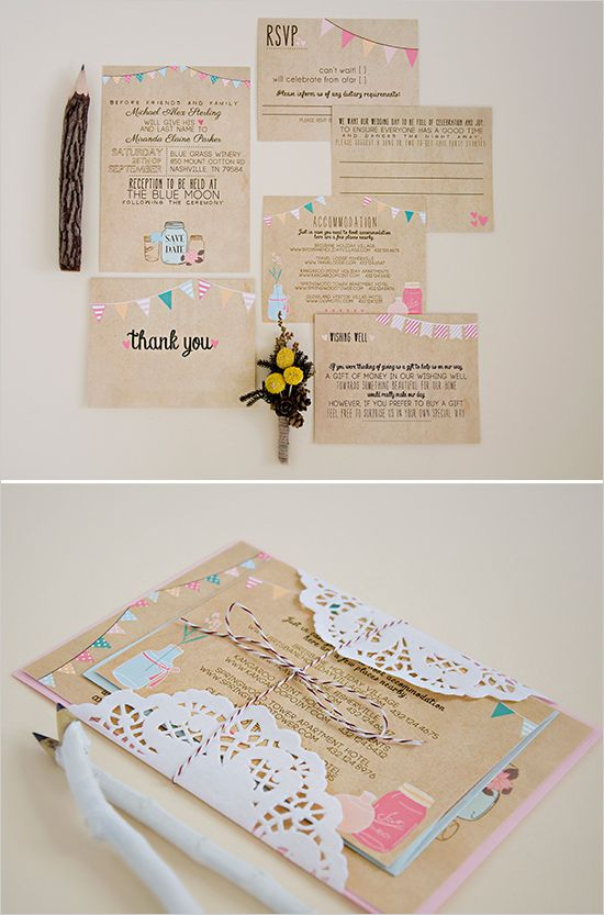 Colorful bunting wedding invites. Love them! http://www.weddingchicks.com/2014/06/24/wedding-paper-giveaway/